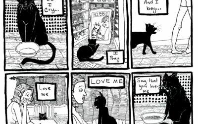 "31 Days of INKtober #2 Black Cat . Titled ""Love Food"""